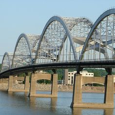 Centennial Bridge across the Mississippi River between Iowa and Illonois.