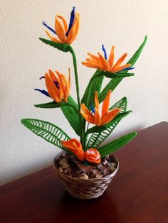 This pretty nearly natural flower arrangement Made by me, I took lots of practice to make it like real Bird of paradise . It is good for home decorati