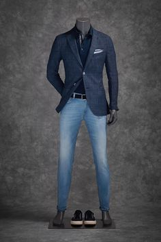 Like the look, jacket and shirt the same color with a pr of jeans