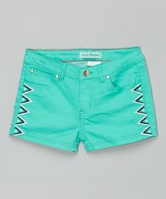 Love this Mint Geometric Detail Shorts by Cutie Patootie on #zulily! #zulilyfinds