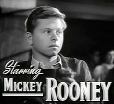 Mickey Rooney as Whitey Marsh in the 1938 'Boys Town' opposite Spencer Tracey.
