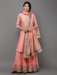 Pink Sharara Set with Dupatta - Set of 3