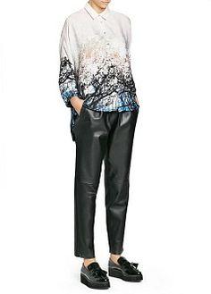 MANGO - Одежда - Брюки - Кожаные брюки-багги