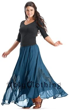 Majolica Blue Kelsey Circle Flare Victorian Gothic Fancy Dance Ladies Skirt - Shop by Color - Skirts