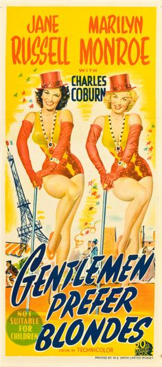 """Gentlemen Prefer Blondes (20th Century Fox, 1953). Australian Daybill (13.25"""" X 30"""").  Howard Hawks directs the classic musical starring Marilyn Monroe and Jane Russell. This colorful Aussie daybill has both stars in all their leggy glory, with great stone litho art."""