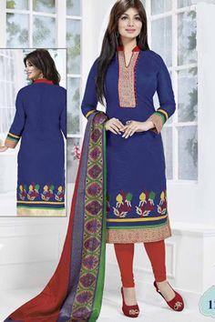 Navy & Red Chanderi Cotton Embroidered UnStitch Suit