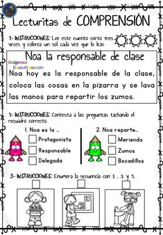 Lecturitas of comprehension 2 for Infantile and first cycle of Primary School – Educational Images Spanish Lessons, Learning Spanish, Teacher Hacks, Primary School, Reading Comprehension, Math Centers, Toddler Activities, Therapy, Classroom