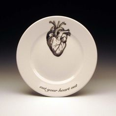 eat your heart out dessert plate by foldedpigs on Etsy, $16.00