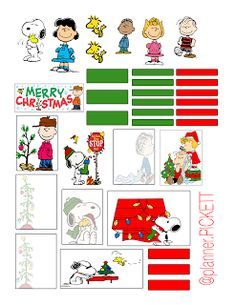 Peanuts Christmas planner stickers