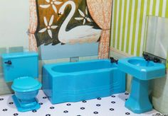 Renwal RARE Turquoise Bathroom Set Vintage Dollhouse Furniture Ideal Marx Plasco | eBay