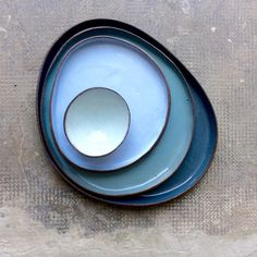 Sea Contour plate series #ceramics #pottery #studioceramics #blue #myrtozirini #seacolours #multicolored #plates #contemporaryceramics #corfu #greekislands #greece #brown #stoneware