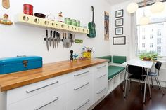 built in bench. Built In Bench, Drawer Pulls, New Kitchen, Kitchen Cabinets, Table, Kitchens, Furniture, Home Decor, Modern