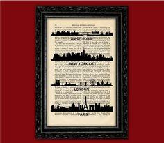 World Cities Skylines Art Print - Building Silhouettes Poster Book Art Dorm Room Print Gift Print Wall Decor Poster Dictionary Art Print