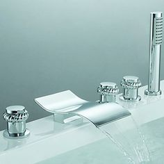 Contemporary Two Handles Waterfall Tub Tap with Hand Shower (Chrome Finish)