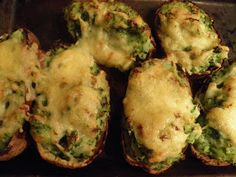 Spinach and cheese stuffed baked potatoes