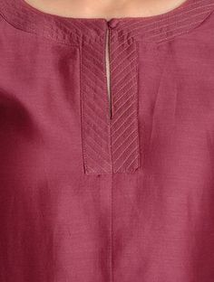 Buy Maroon Zari Stitch Detailed Chanderi Kurta by Jaypore Online Salwar Neck Patterns, Salwar Pattern, Salwar Neck Designs, Neck Designs For Suits, Kurta Neck Design, Sleeves Designs For Dresses, Neckline Designs, Dress Neck Designs, Kurta Designs Women