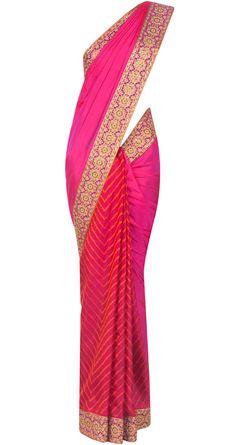 DEEPIKA GOVIND - Fuschia silk leheriya sari - DGC0713SR04 - This fuschia sari features a silk leheria with an embroidered border and a flame orange silk net pallu.