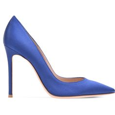 GIANVITO 105 ❤ liked on Polyvore featuring shoes, pumps, blue satin shoes, blue pointed toe pumps, blue satin pumps, high heeled footwear and pointy toe shoes