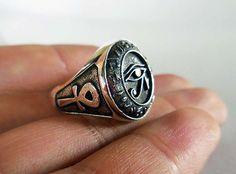 925 Sterling Silver Eye Of Horus Ring All Size Style Heavy Biker Harley Rocker Men's Jewelry (R-04)