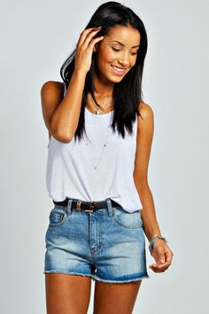4a697af76ef7 Mariah Mid Blue Wash Denim Hotpants at boohoo.com Dresses Uk, Blue Shorts,