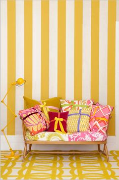 Stripes are timeless design patterns. They can be very difficult to use for decoration. If you need inspiration for using stripes then dive into our post. Yellow Interior, Interior Modern, Interior Design, Interior Paint, Yellow Color Combinations, Color Schemes, Sweet Home, Home Decoracion, Mellow Yellow