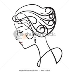 Picture of a Beautiful Woman in Profile with Aristocratic Features in a Vector Clip Art Illustration