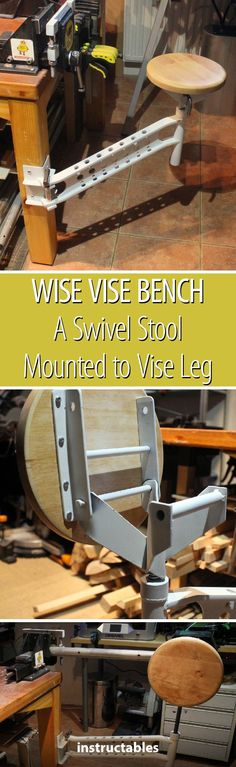 Wise Vise Bench - a Swivel Stool Mounted to a Vise Leg #workshop #tool