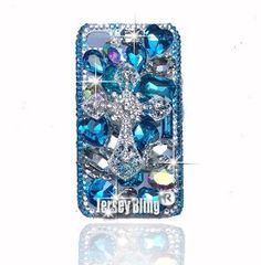$39.49 Amazon.com: BLING Huge Blue & Iridescent 3d Handmade Swarovski & Czech Crystal Cross Case for Iphone 4/4s by Jersey Bling: Cell Phones & Accessories