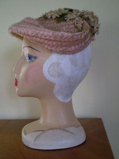 Vintage 1950's Trudy Hats Pink Straw Hat