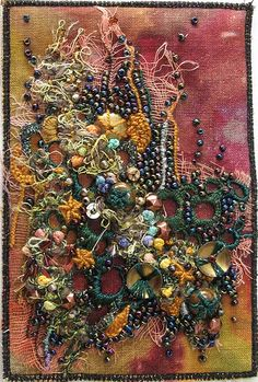 lovely fabric postcard by Sharon Boggon textile art, textile art, Fabric Art, Fabric Crafts, Beaded Embroidery, Hand Embroidery, Fabric Postcards, Postcard Art, Textiles, Textile Fiber Art, Artist Trading Cards