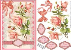 Victorian blush pink roses on a lace panel on Craftsuprint - Add To Basket!