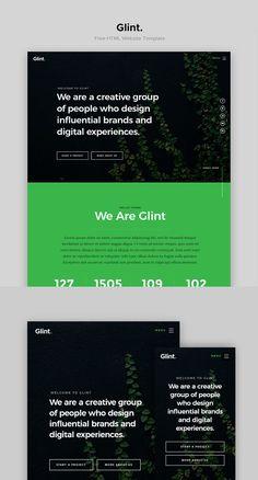 Glint - Free Agency HTML Website Template Web Design Black, Text Design, Graphic Design Branding, Corporate Website Templates, Html Website Templates, Website Design Layout, Website Design Inspiration, Band Website, Web Design Examples