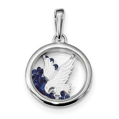 Sterling Silver Rhodium-plated Eagle & Floating Glass Beads Pendant