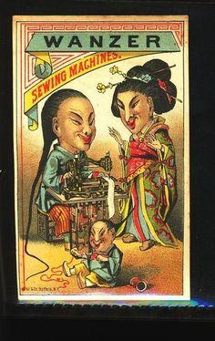 WANZER Sewing Machine, derogatory Chinese portrayal, trade card