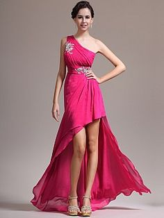 Cut Pleated and Appliqued Chiffon High Low Prom Dress - USD $129.00