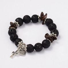 Heart & Cross Lava Beaded Charm Bracelets from Pandahall.com: