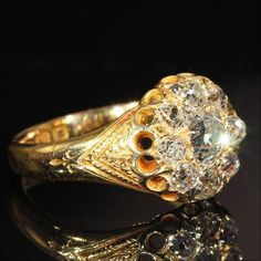 Antique Victorian Diamond Cluster Engagement Ring in 18k Gold, Hallmarked 1874