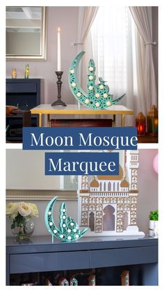 Our Moon Mosque Marquees are one of our best selling products. Both cordless and light weight, display on your dining room table or dress up a bare shelf. Shop this color and more on our website. #daysofeid
