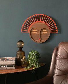 Colorful and Modern Wood Wall Decor Wood Wall Decor, Wooden Decor, Masks Art, African Masks, Living Room Art, Interior Design Inspiration, Decoration, Wood Art, Twenty Twenty
