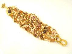 Beaded bracelet Seed bead bracelet Golden honey bracelet by ibics