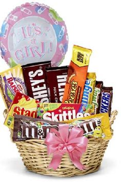 Congratulate new parents on their beautiful baby girl with a candy gift basket ♥