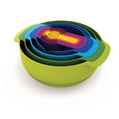 Have all of the necessary mixing bowls and measuring cups that store inside themselves so you'll never lose a piece!