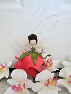 Pink Fairy Doll, Angel Tree Topper, Christmas Fairy Tree Topper, Flower Fairy Ornament, Handmade Fairy Doll, Ballerina fairy ornament is a handmade fairy doll, can be used as Christmas decorations: tree ornament, angel tree topper, fairy ornament,ballerina ornament. And she is a