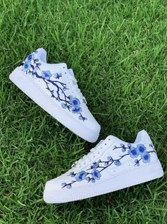 Each individual pair is handcrafted to orderCherry Blossom is Stitched to Perfection!Brand new with boxFinal Sale. Non refundable/ No Exchanges.Turn around time weeks + Shipping Time(subject to change without notice depending on order . Jordan Shoes Girls, Girls Shoes, Shoes Women, Moda Nike, Nike Shoes Air Force, Blue Cherry, White Nike Shoes, Aesthetic Shoes, Lit Shoes
