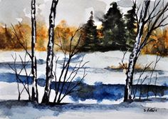 ORIGINAL Watercolor Painting, Winter Landscape, Winter River, Small Format Art, Watercolor Illustration 4x6 inch by ArtCornerShop on Etsy
