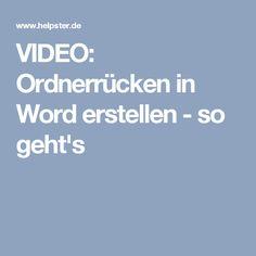 VIDEO: Ordnerrücken in Word erstellen - so geht's