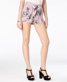 American Rag Juniors' Floral-Print Tie-Front Shorts, Created for Macy's          Juniors -  Shorts - Macy's