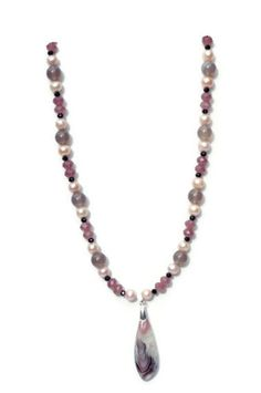 OOAK Necklace with Botswana Agate Pendant/ Grey by ALFAdesigns, $69.99