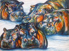 Sleepy Hippos by KristinGjerdset on Etsy