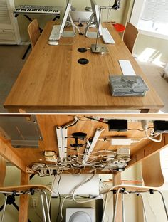 Hang your wires on the underside of the table to hide their unsightliness.